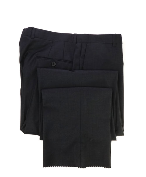 HICKEY FREEMAN - Solid Gray Flat Front Wool Dress Pants - 36W