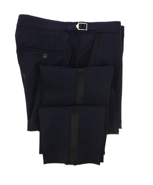 PAUL SMITH - GOLD SIDE-TABS Navy Blue Tuxedo Stripe Wool & Mohair Pants - 36W