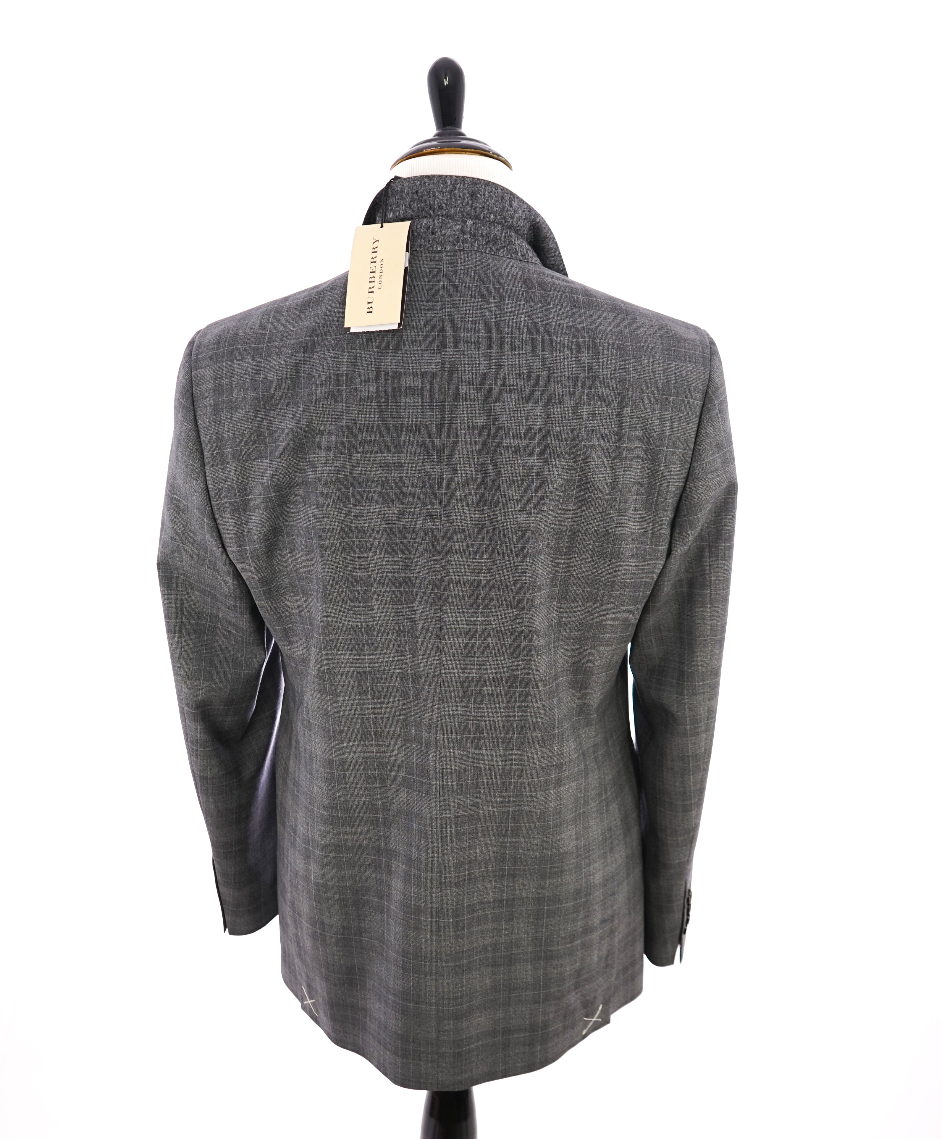 "BURBERRY LONDON - Made In Italy Wool Gray ""Canbury"" Plaid LOGO Suit - 44R"
