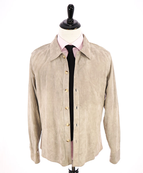 CORNELIANI - ID Lambskin Suede Leather Shirt Jacket / Blazer Beige - 40R