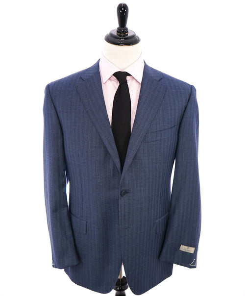 CANALI - Textured Powder Blue Herringbone Pattern Blazer - 46R