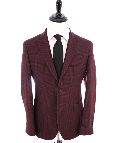 SAKS FIFTH AVENUE - Semi-Lined Burgundy Glen Plaid Check Blazer- 38R