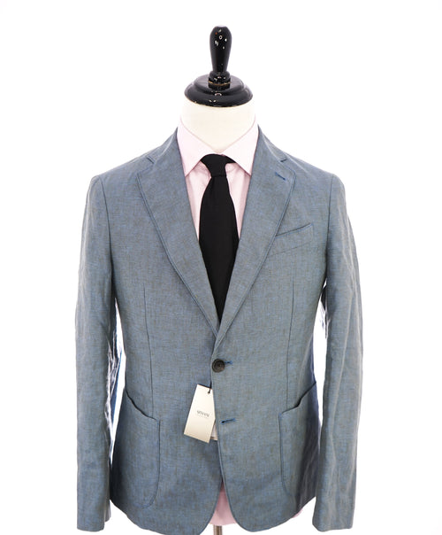 ARMANI COLLEZIONI - Medium Blue Melange Semi-Lined Linen Blazer -  38R