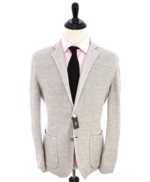 ELEVENTY - Cotton/Linen Textured Knit Sweater Style Blazer MOP Buttons - XL (42US)