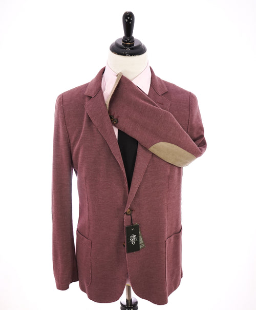 "ELEVENTY - Cotton Pique Burgundy LEATHER SUEDE ""Bruenllo Style"" Blazer - 44R"