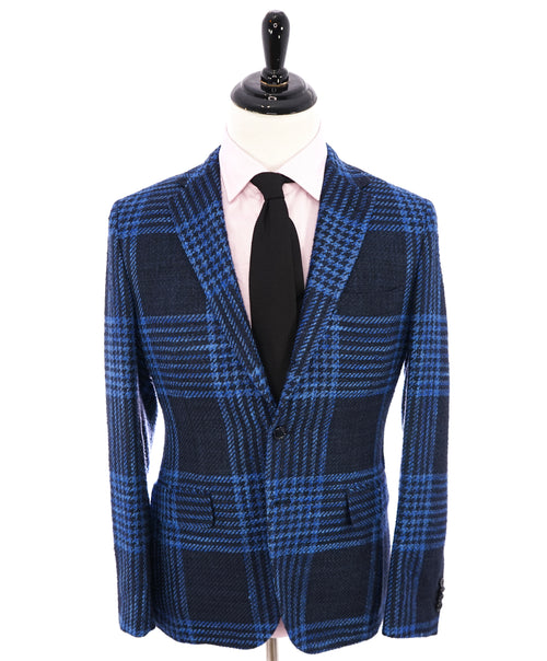MP MASSIMO PIOMBO - SILK Raised Texture Bold Check Semi-Lined Blazer - 38R