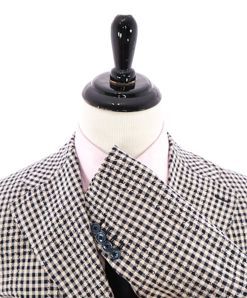 BOTTEGA MARTINESE - Made In Italy Navy & Cream Textured Check Blazer - 38R