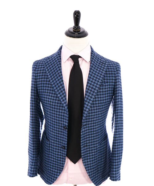 BOTTEGA MARTINESE - LINEN Made In Italy Navy Blue Houndstooth Blazer - 36R