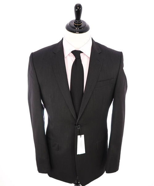 VERSACE COLLECTION - Gray Stripe Wool Suit Logo MOP Buttons  - 42R