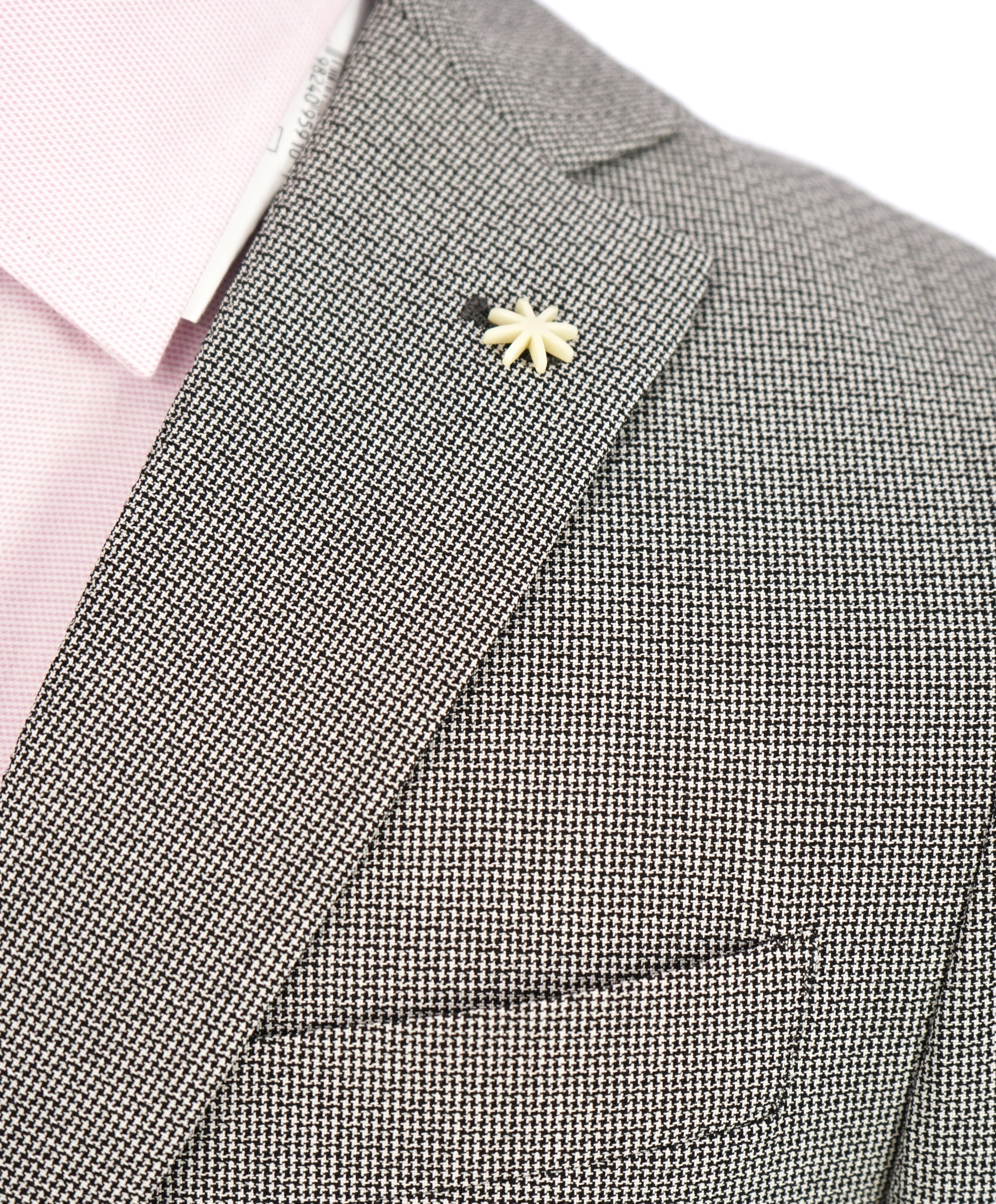 "MANUEL RITZ - ""Mohair Blend"" Ultra Light Semi Lined Micro Houndstooth Suit - 40S"
