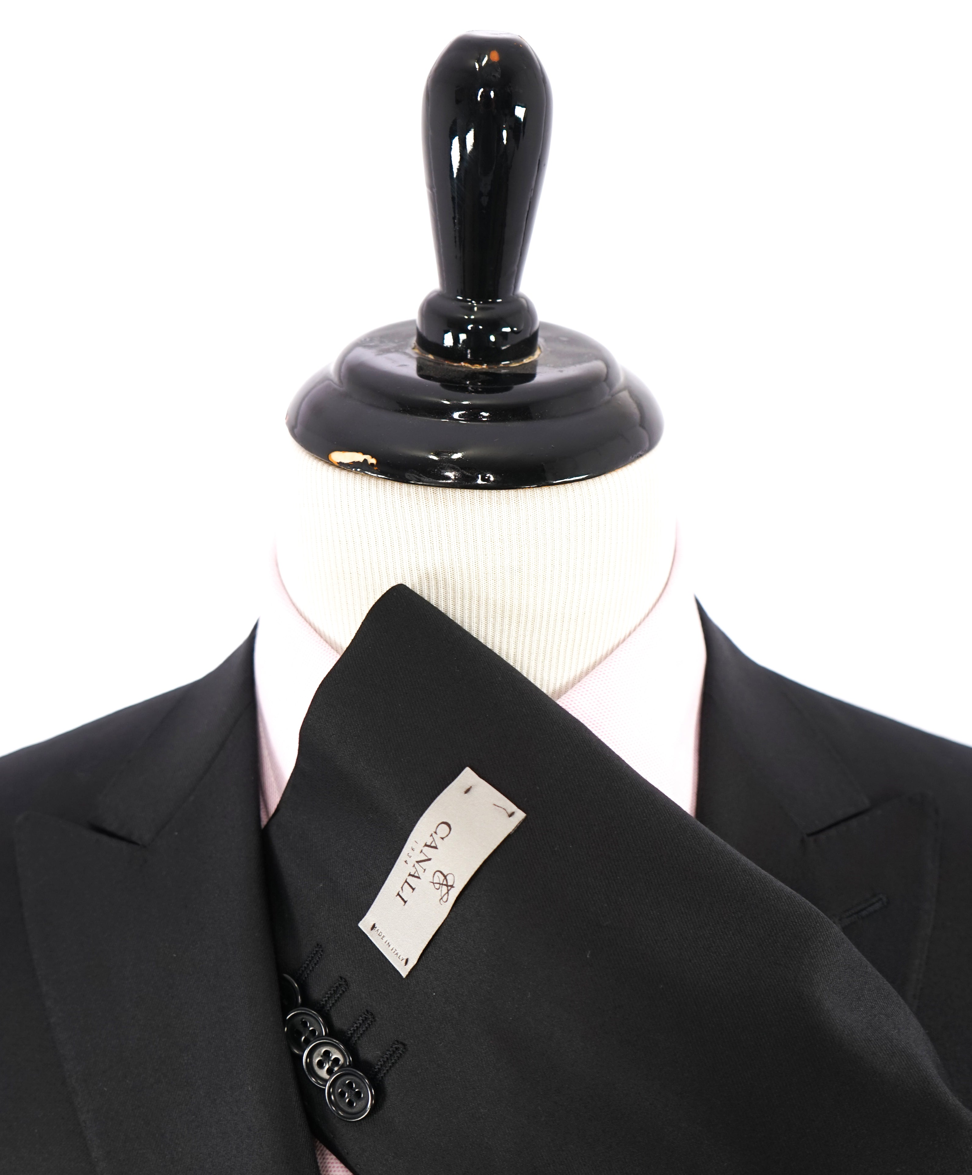 CANALI - Jet Black Peak Lapel Premium Wool Suit - 40R