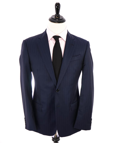 SAMUELSOHN - Wide Peak Lapel Windowpane Blue Suit - 38S