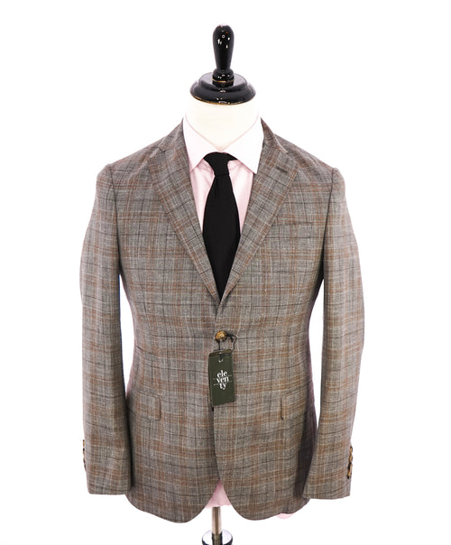 "ELEVENTY -  ""PREMIUM"" Camel & Gray Check WOOL/SILK/LINEN Suit - 46R"