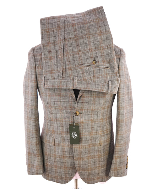 "ELEVENTY -  ""PREMIUM"" Camel & Gray Check WOOL/SILK/LINEN Suit - 38R"