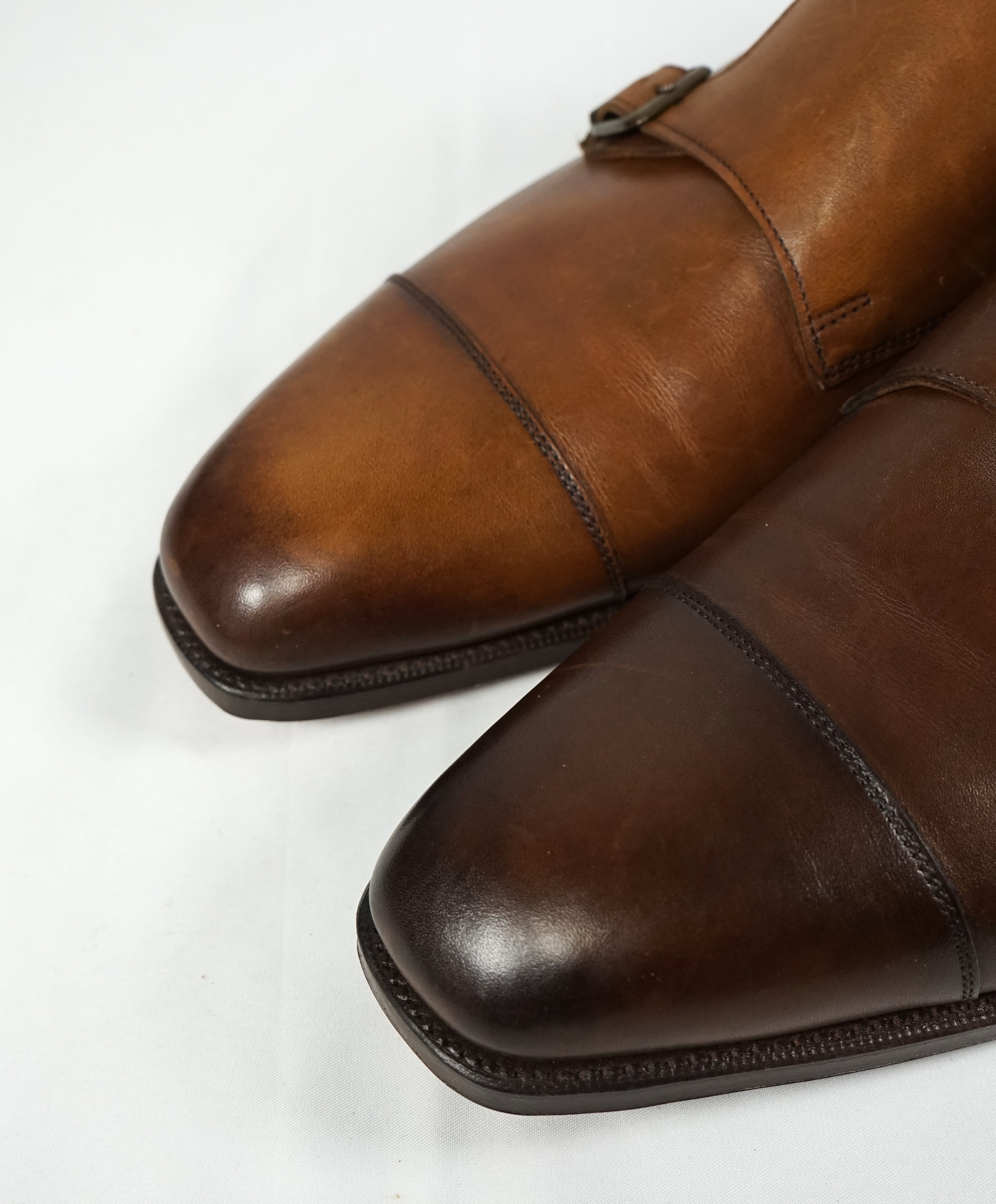 EDWARD GREEN -Iconic Double Monk Cap-Toe Burnished Brown - Hand Made - 9US