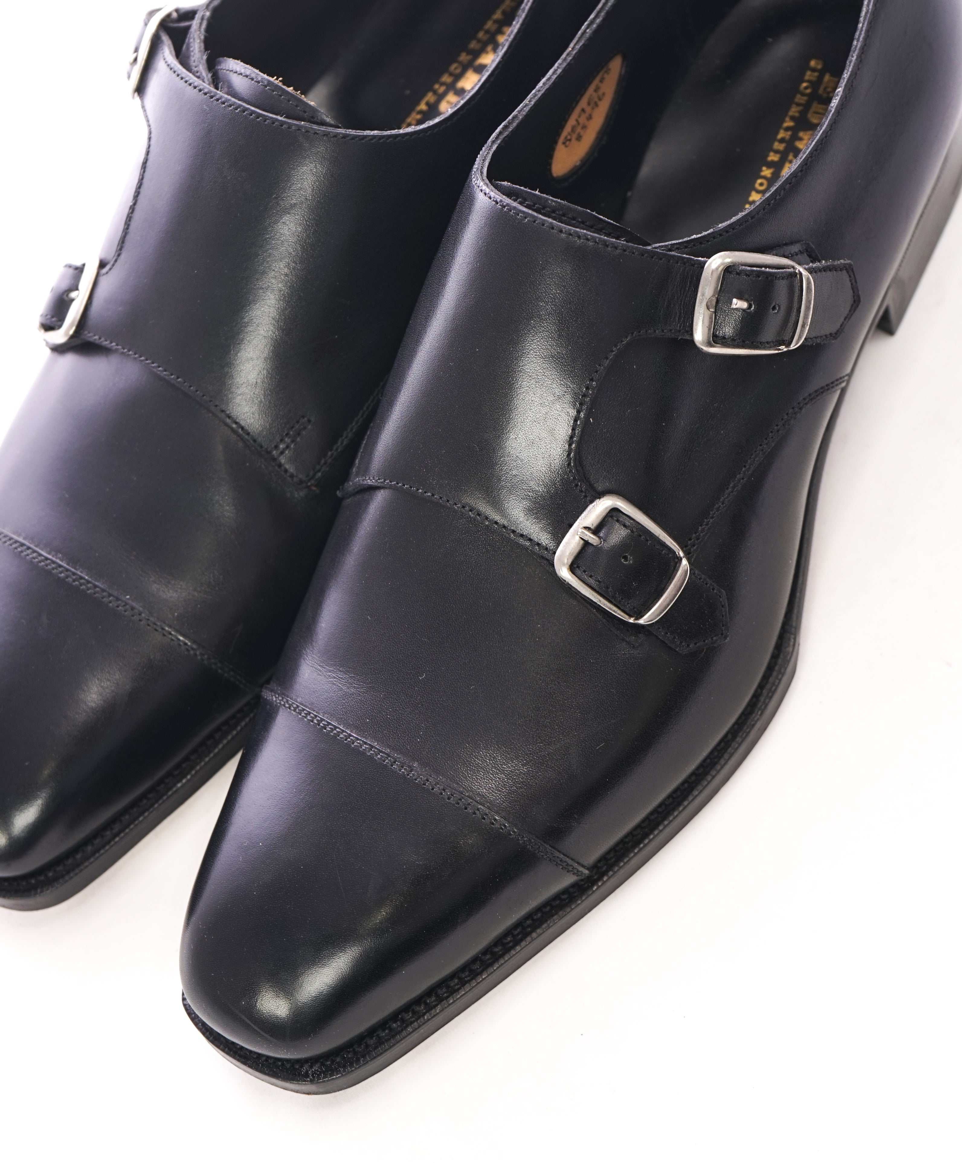 EDWARD GREEN -Iconic Double Monk Cap-Toe Black Loafers- Hand Made - 9US