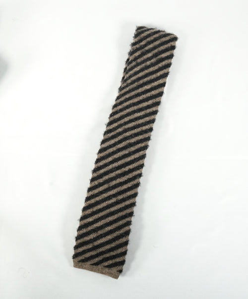 EIDOS - Diagonal Beige & Gray Wool Knit Tie - N/A