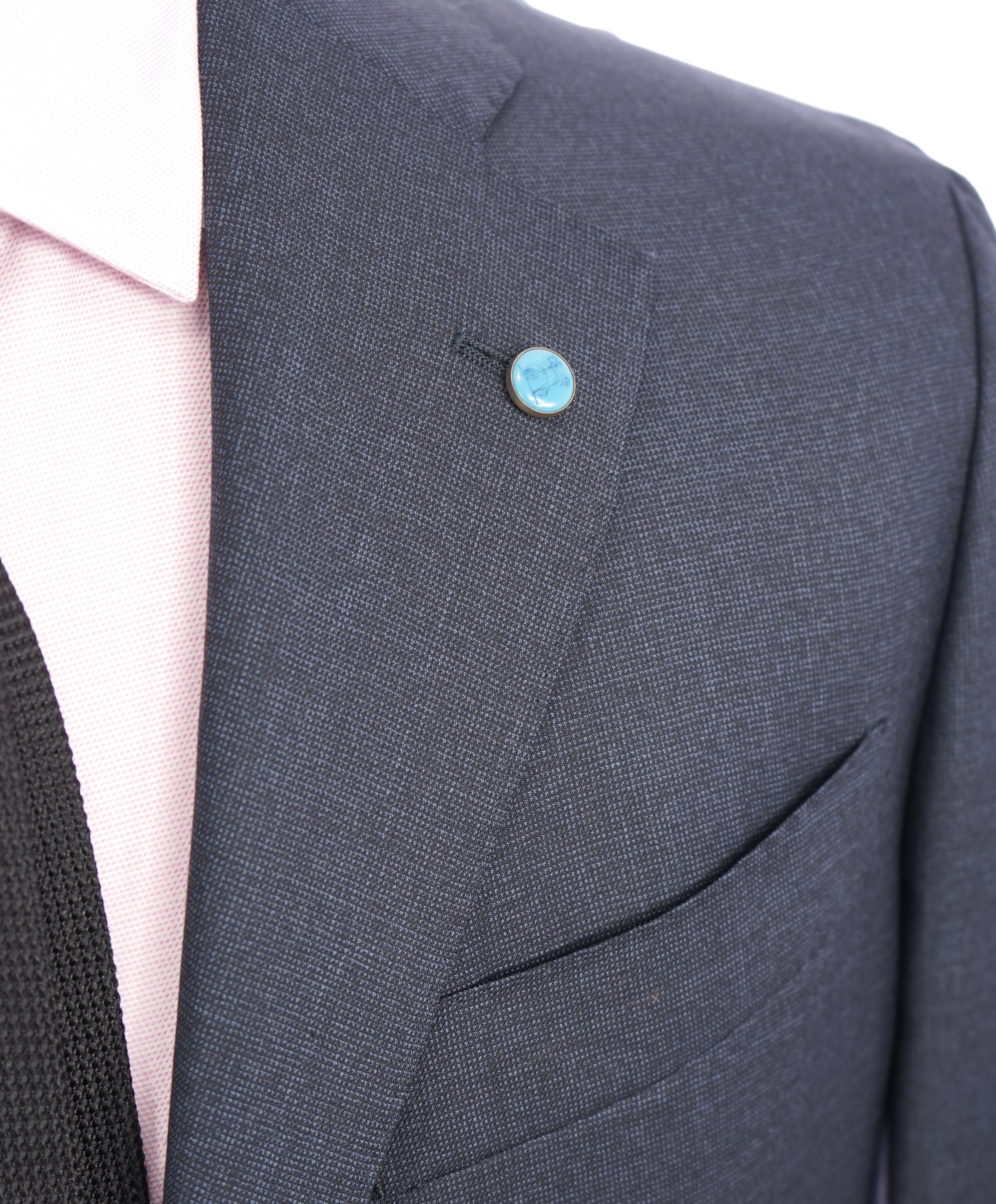 "EIDOS - Blue Navy Pindot ""TENERO"" 2-3 Button Roll Lapel Wool Suit  - 44R"