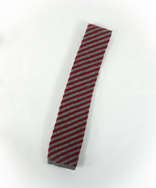 EIDOS - Diagonal Red & Gray Wool Knit Tie -N/A