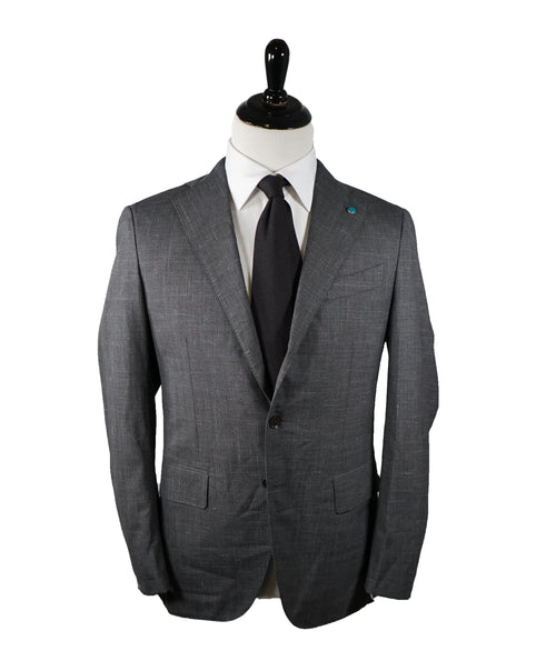 EIDOS - Gray Abstract Plaid Check Pattern Wool/Silk/Linen Suit - 40R