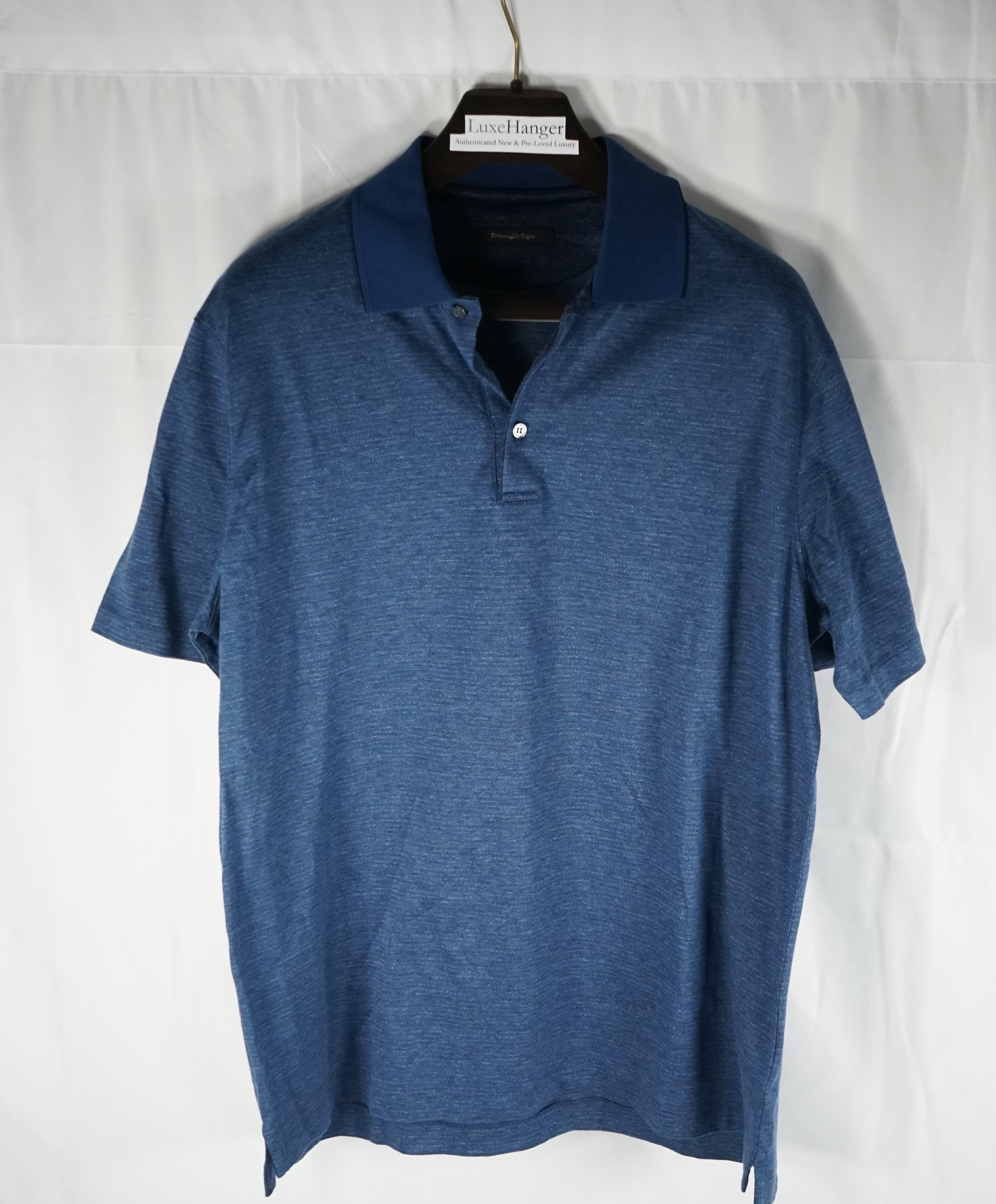 ERMENEGILDO ZEGNA - Blue Tipped Polo Shirt W Engraved Buttons - L