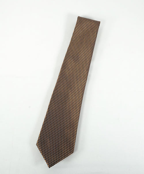 ERMENEGILDO ZEGNA - Orange Navy & Silver Geometric Silk Tie
