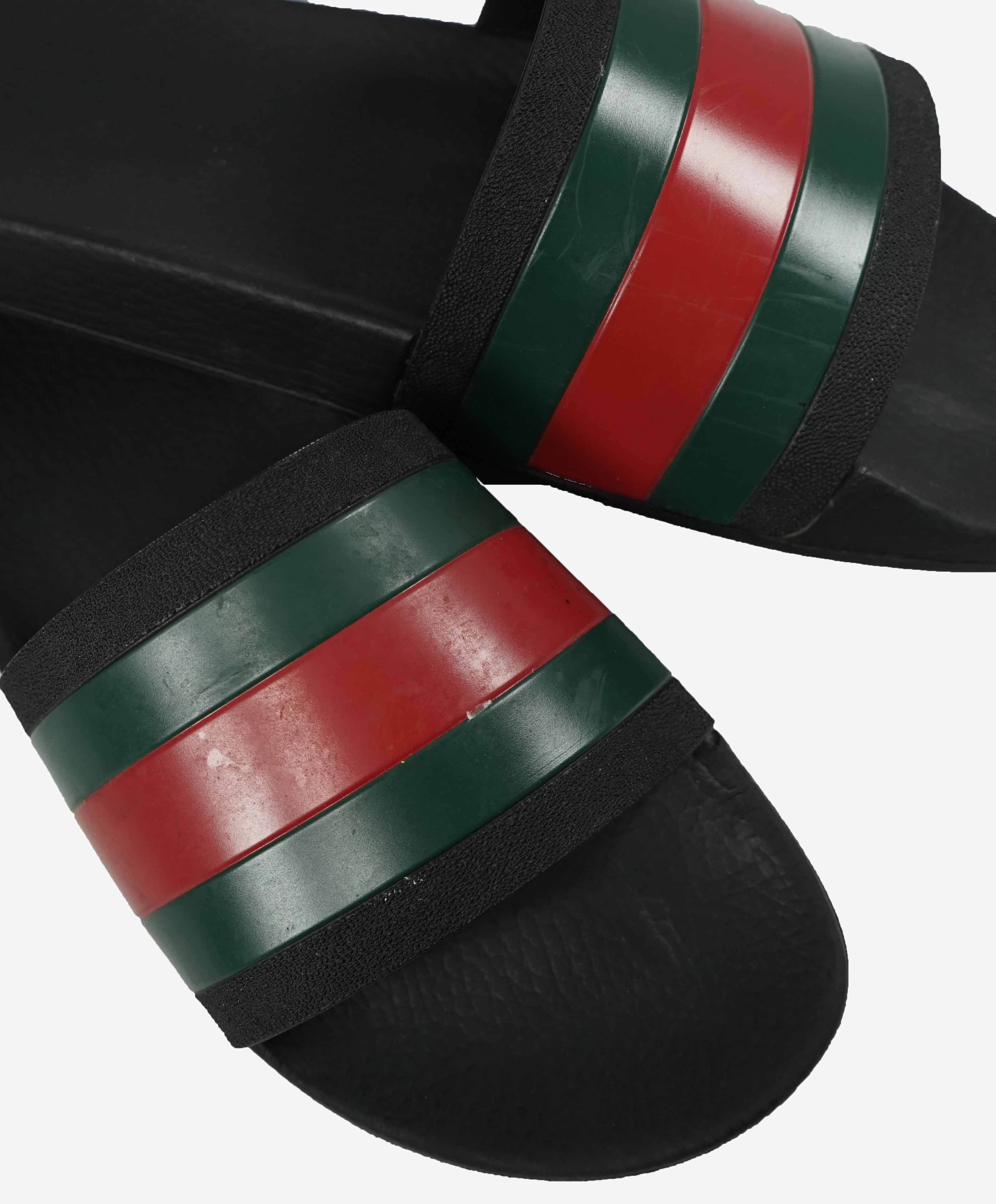 "GUCCI - Iconic Green & Red Stripe Slides ""Pursuit 72"" Slippers - 13"