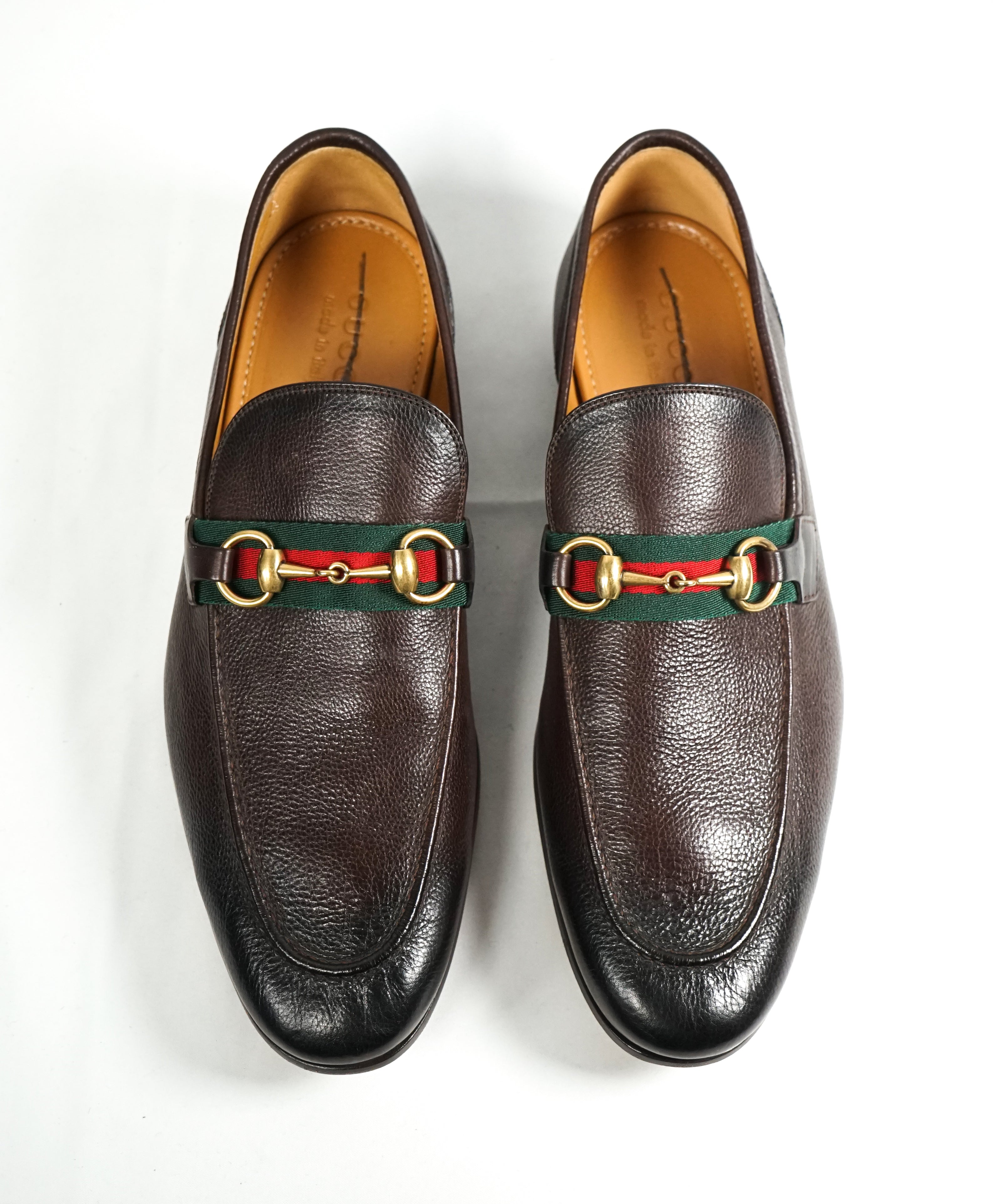 GUCCI - Iconic Green & Red Stripe Horsebit Loafers - 10
