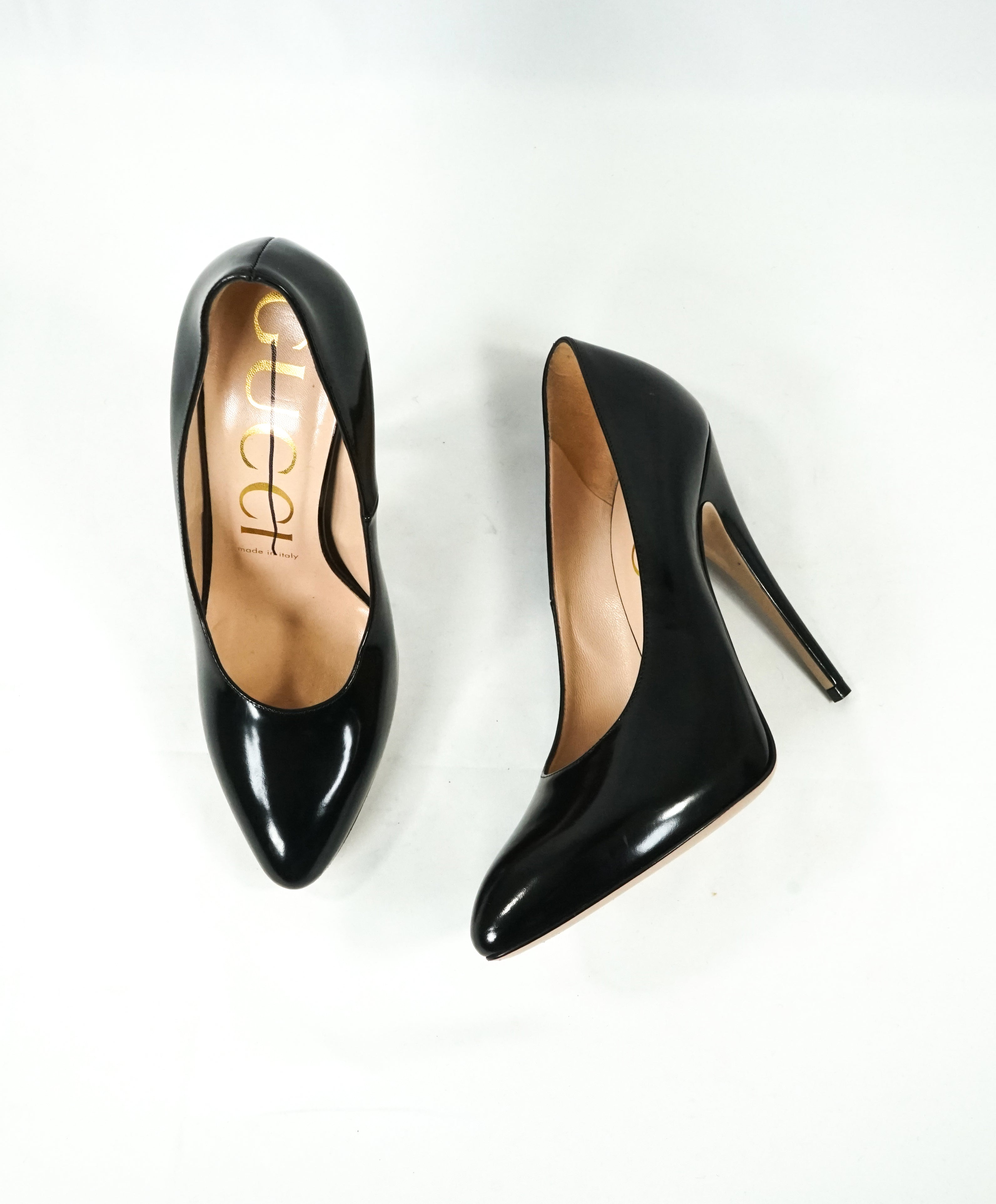 826e11ec3511d GUCCI - Black Patent Leather Round Toe High Heel Pumps- 7 – Luxe Hanger