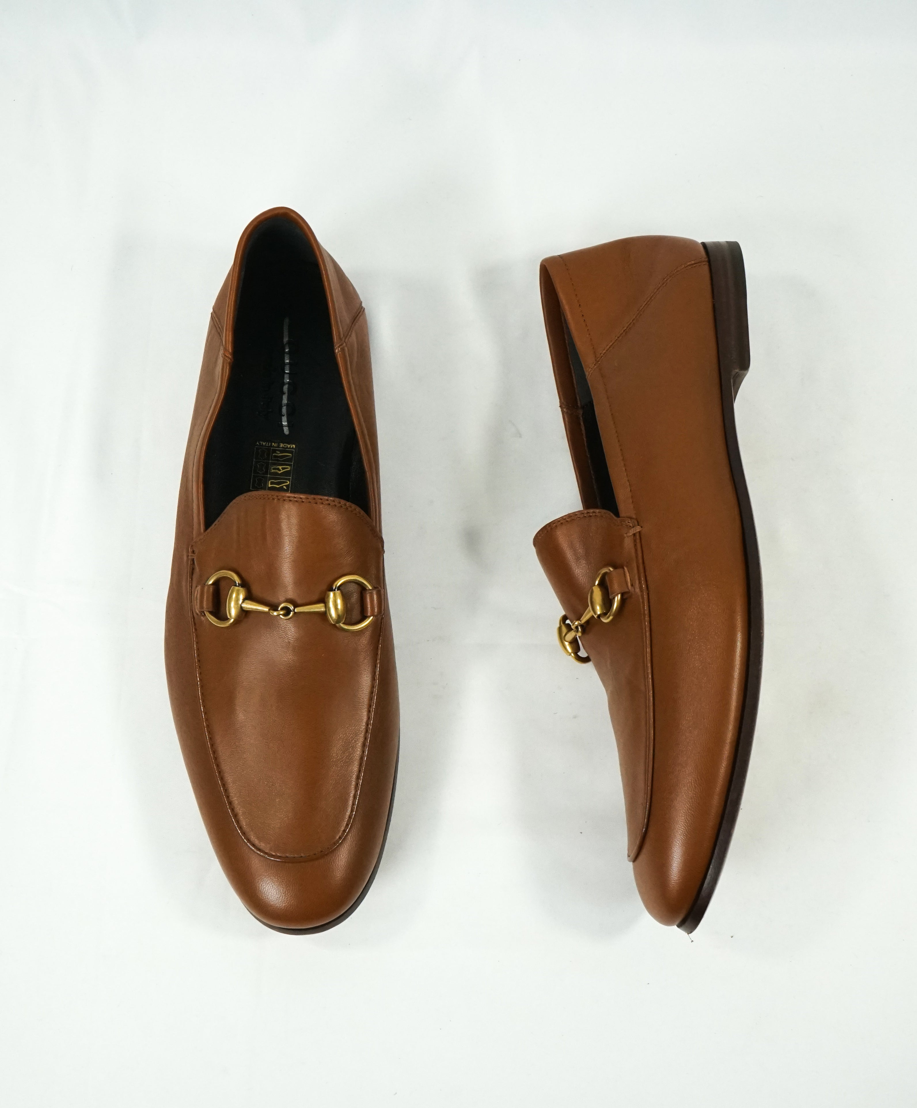 "GUCCI - ""Brixton"" Horse-Bit Loafers Convertible Back Gold/Brown - 9 US"