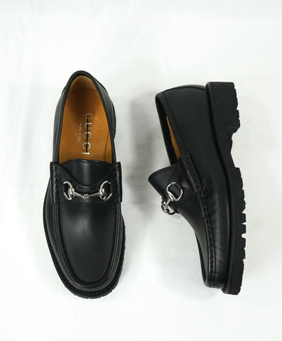 GUCCI - Horse-bit Leather sole Loafers Black Iconic Style - 8