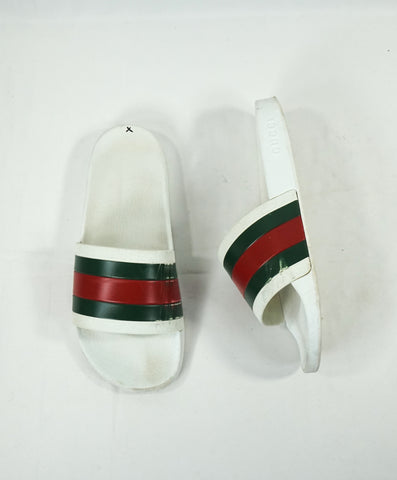 "GUCCI - Iconic Green & Red Stripe Slides ""Pursuit 72"" Slippers - 9"