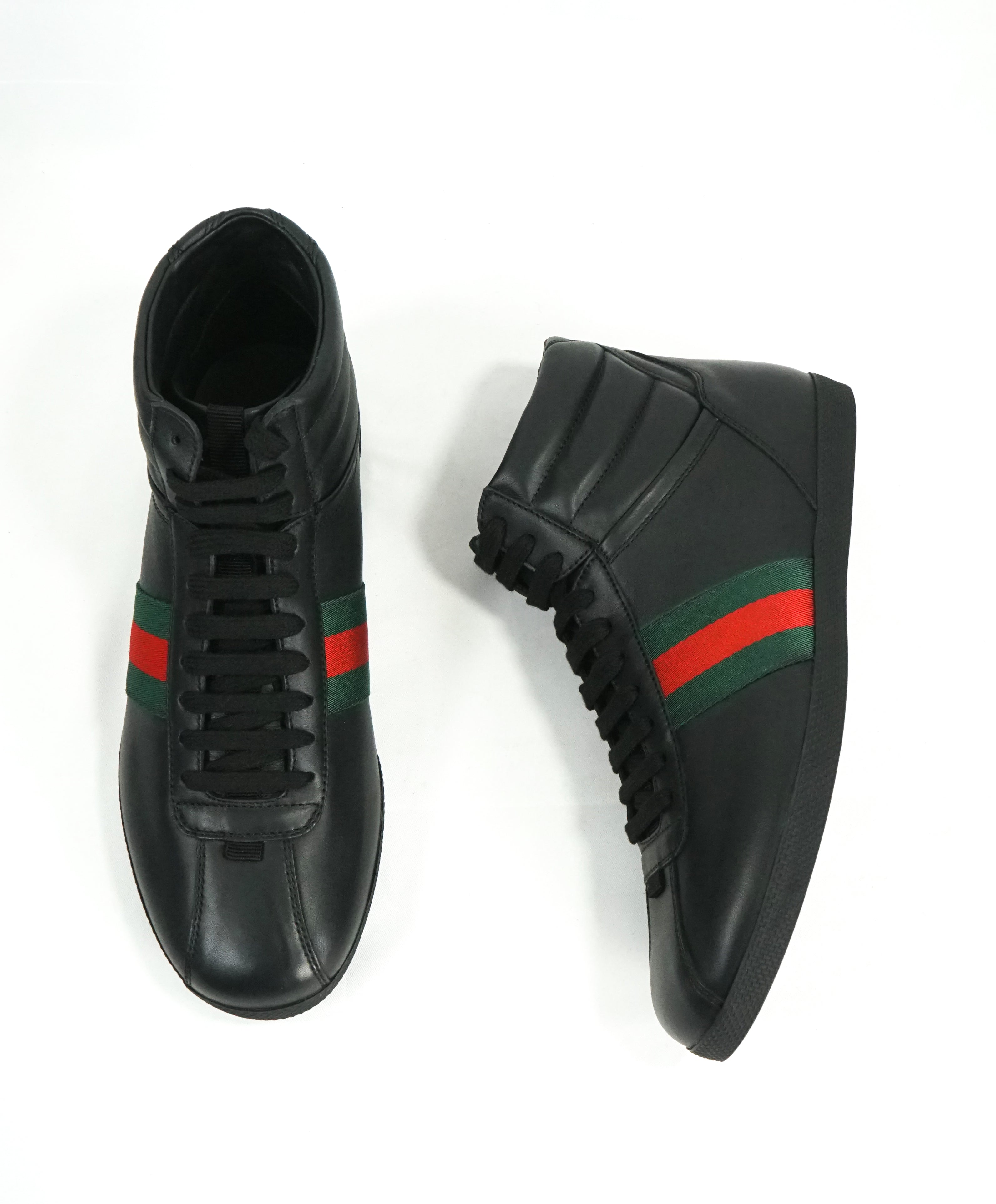 GUCCI -Red and Green Logo Stripe GG High Top Black Sneakers - 6G / 6.5 US