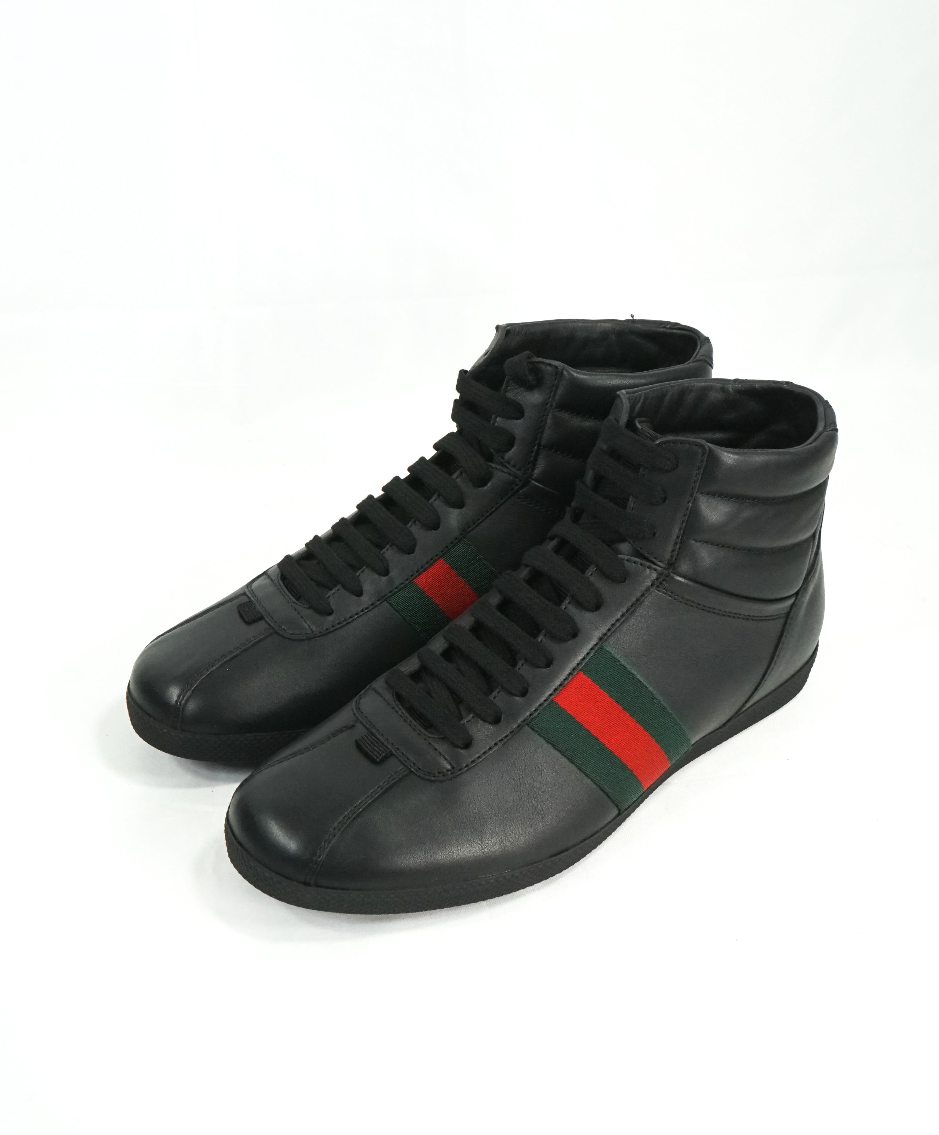 GUCCI -Red and Green Logo Stripe GG High Top Black Sneakers- 6G / 6.5 US