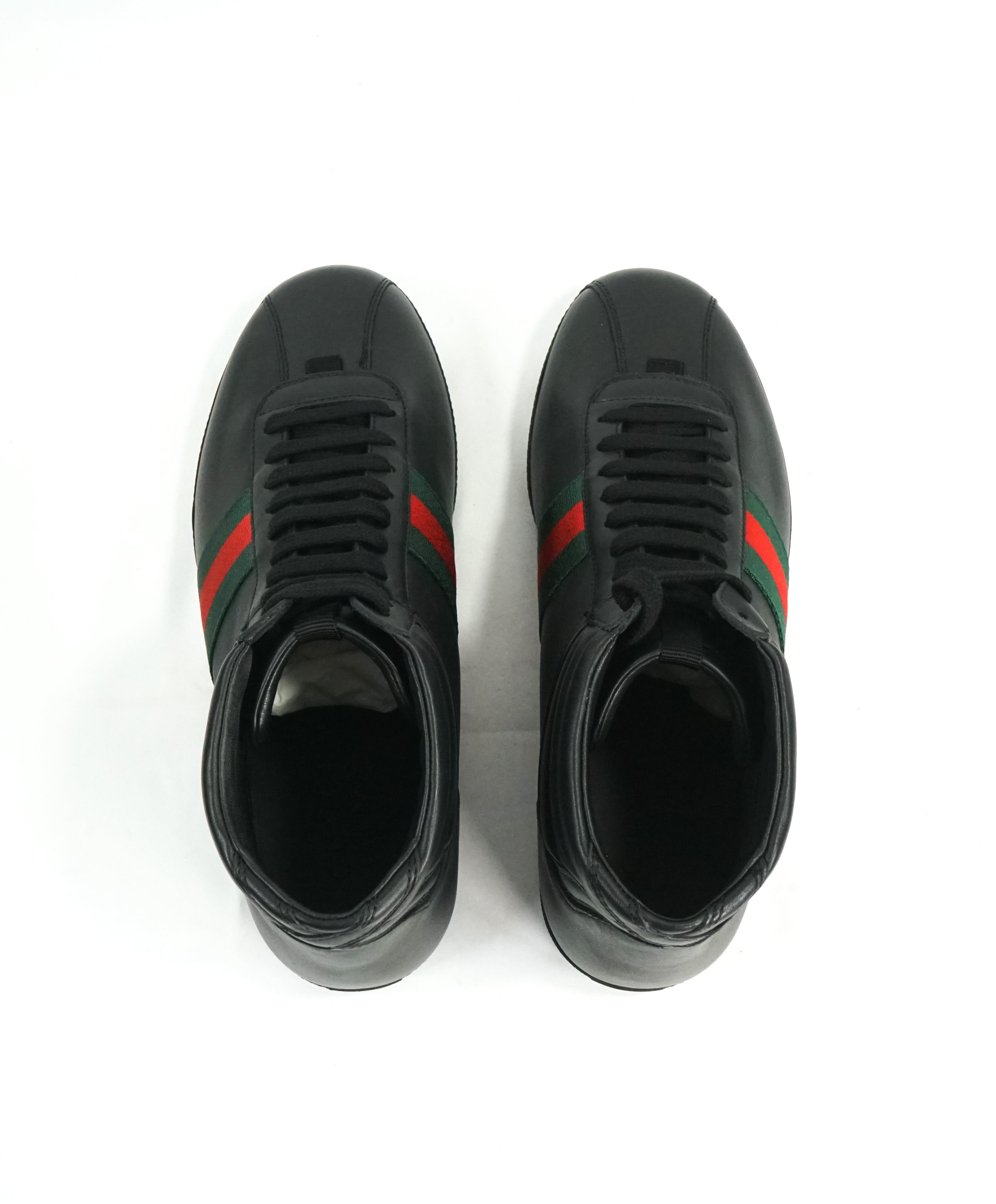 GUCCI -Red & Green Logo Stripe GG High-Top Black Sneakers - 6G / 6.5 US