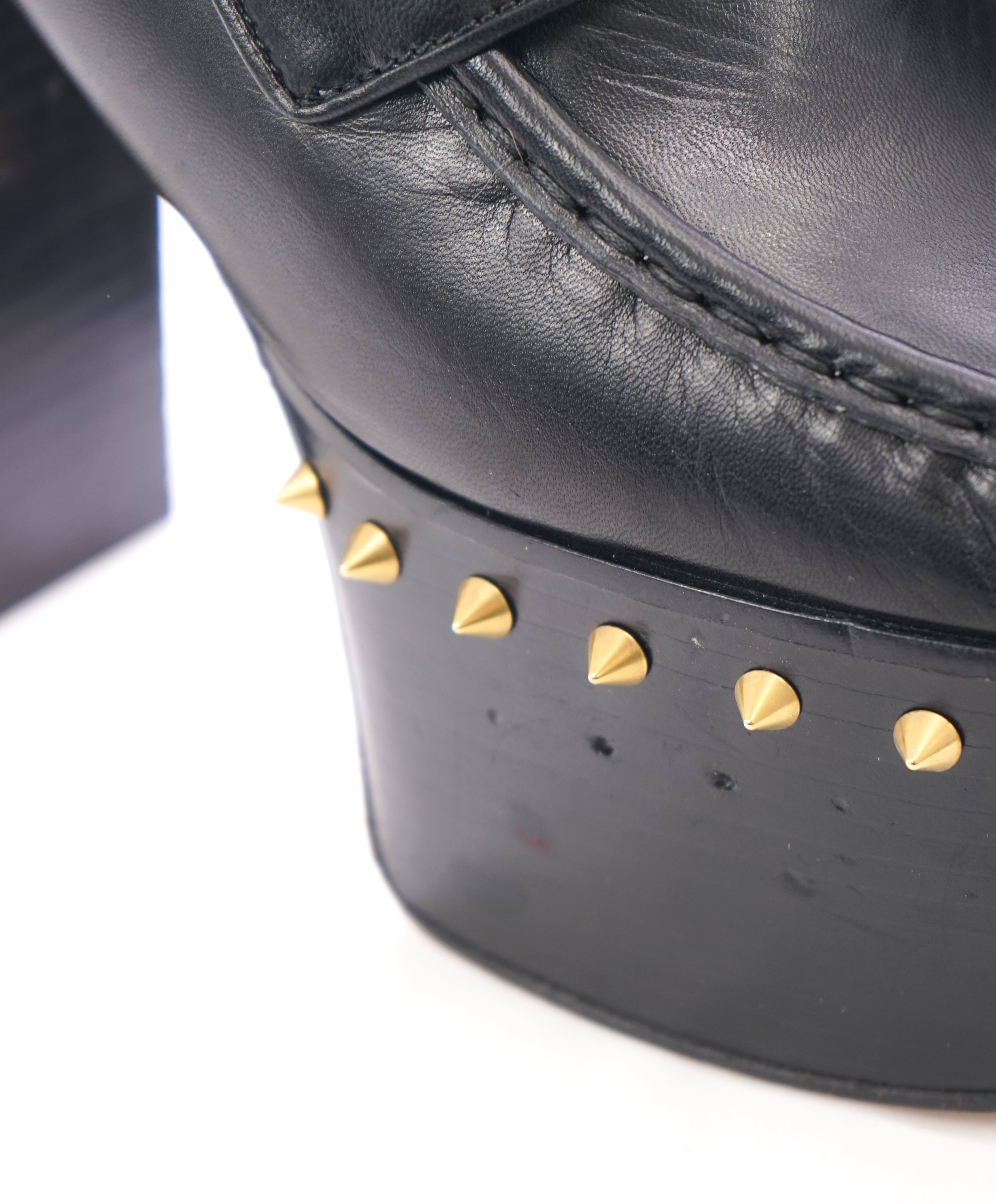"GUCCI - ""Vegas"" Spike Platform Heel With Gold GG Logo Pearls - 8.5"