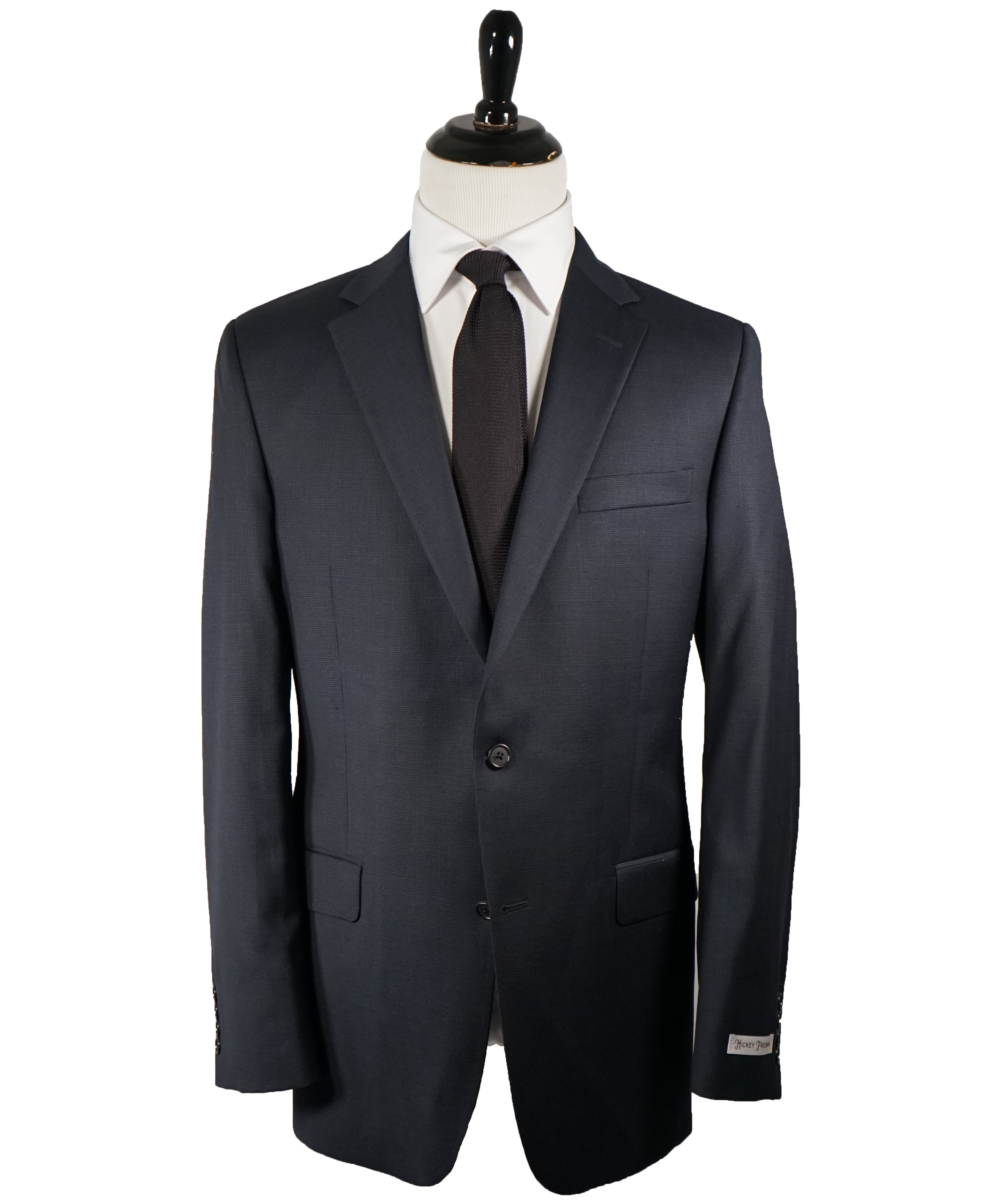 HICKEY FREEMAN - Navy Blue Textured Micro Check Suit - 42L