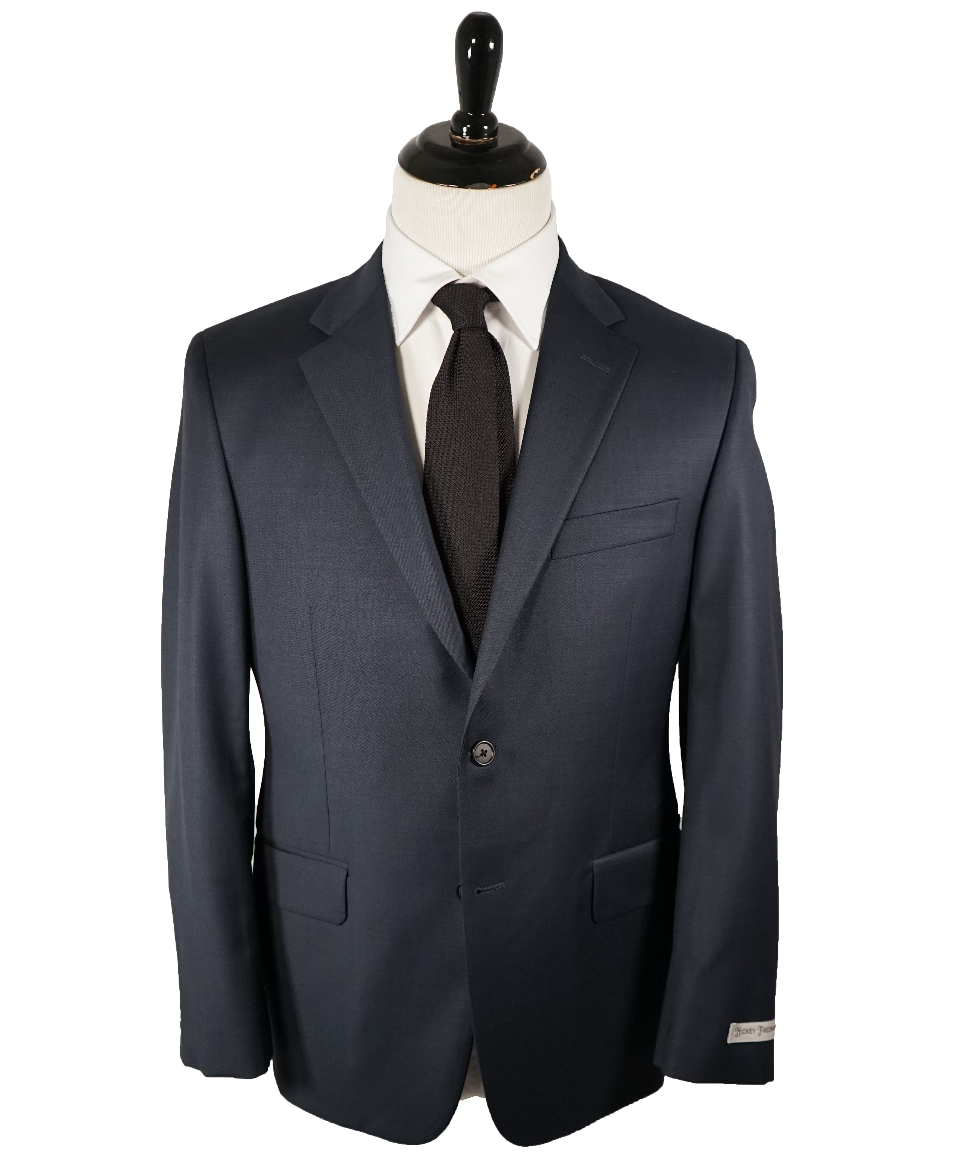 HICKEY FREEMAN - Navy Blue Textured Solid Suit - 40S