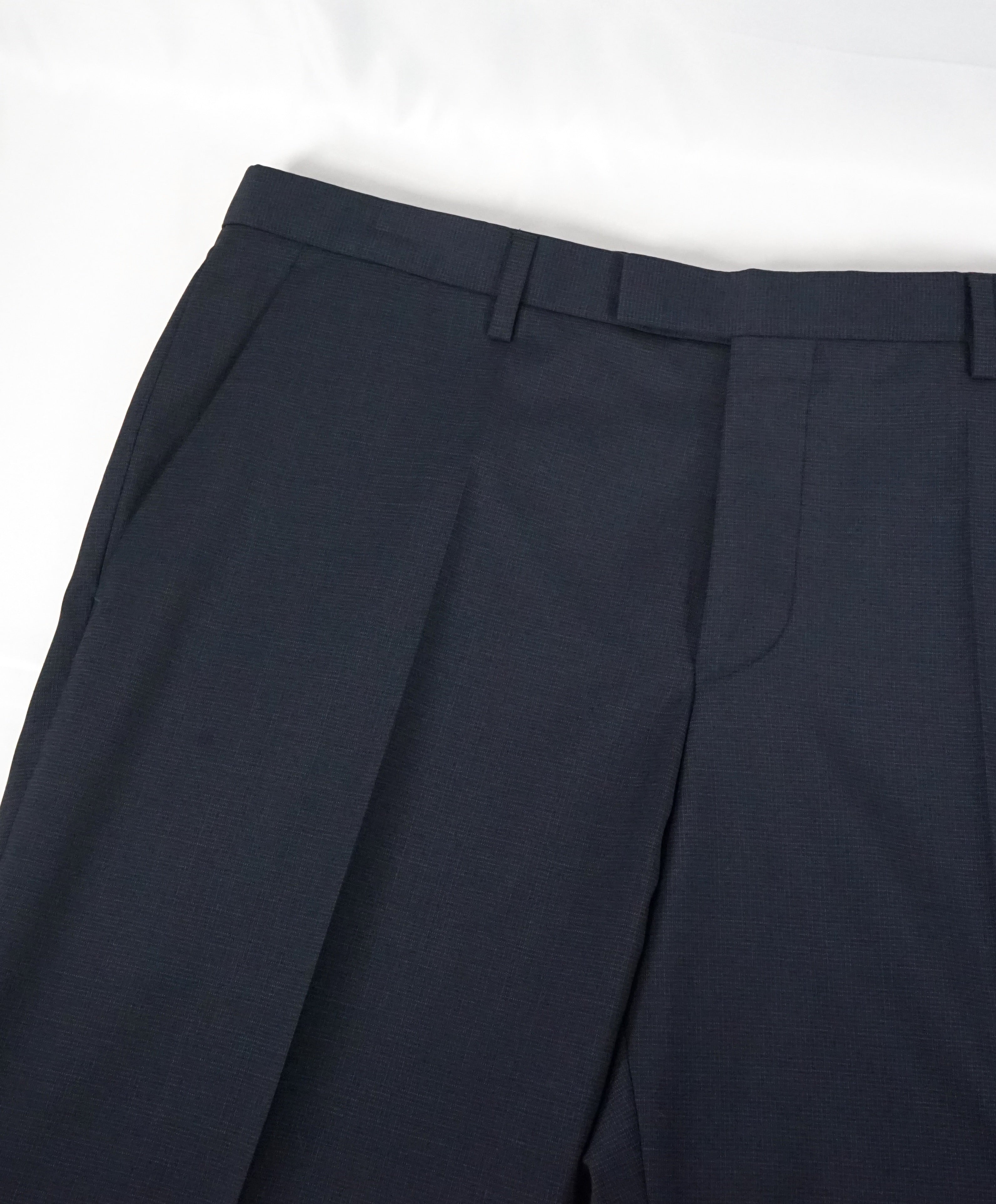 "HUGO BOSS - ""James Brown US"" Solid Navy Flat Front Dress Pants - 41W"
