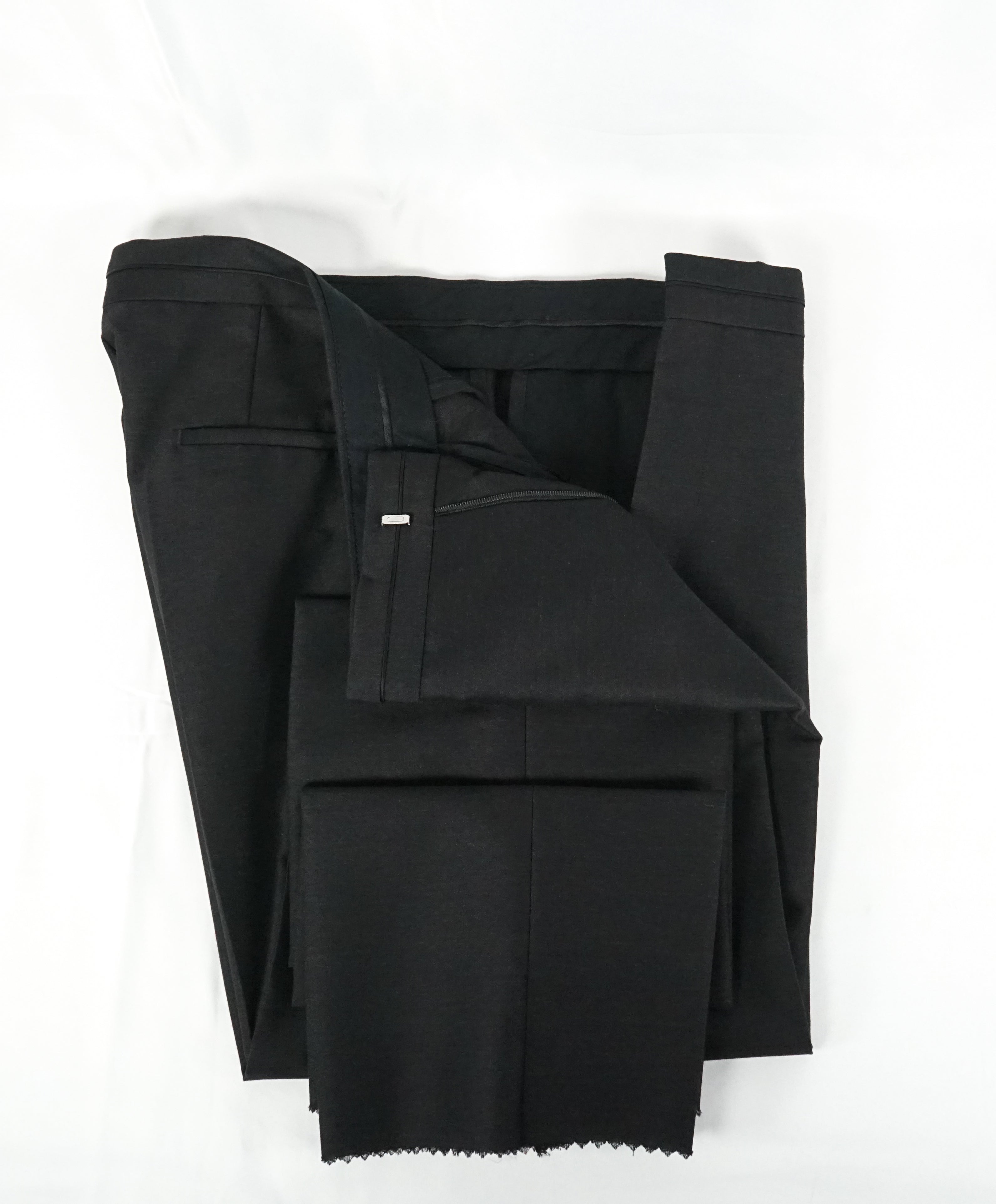 "HUGO BOSS - ""Henry/Glow"" Gray Slim Tipped Wool/Silk Dress Pants - 34W"