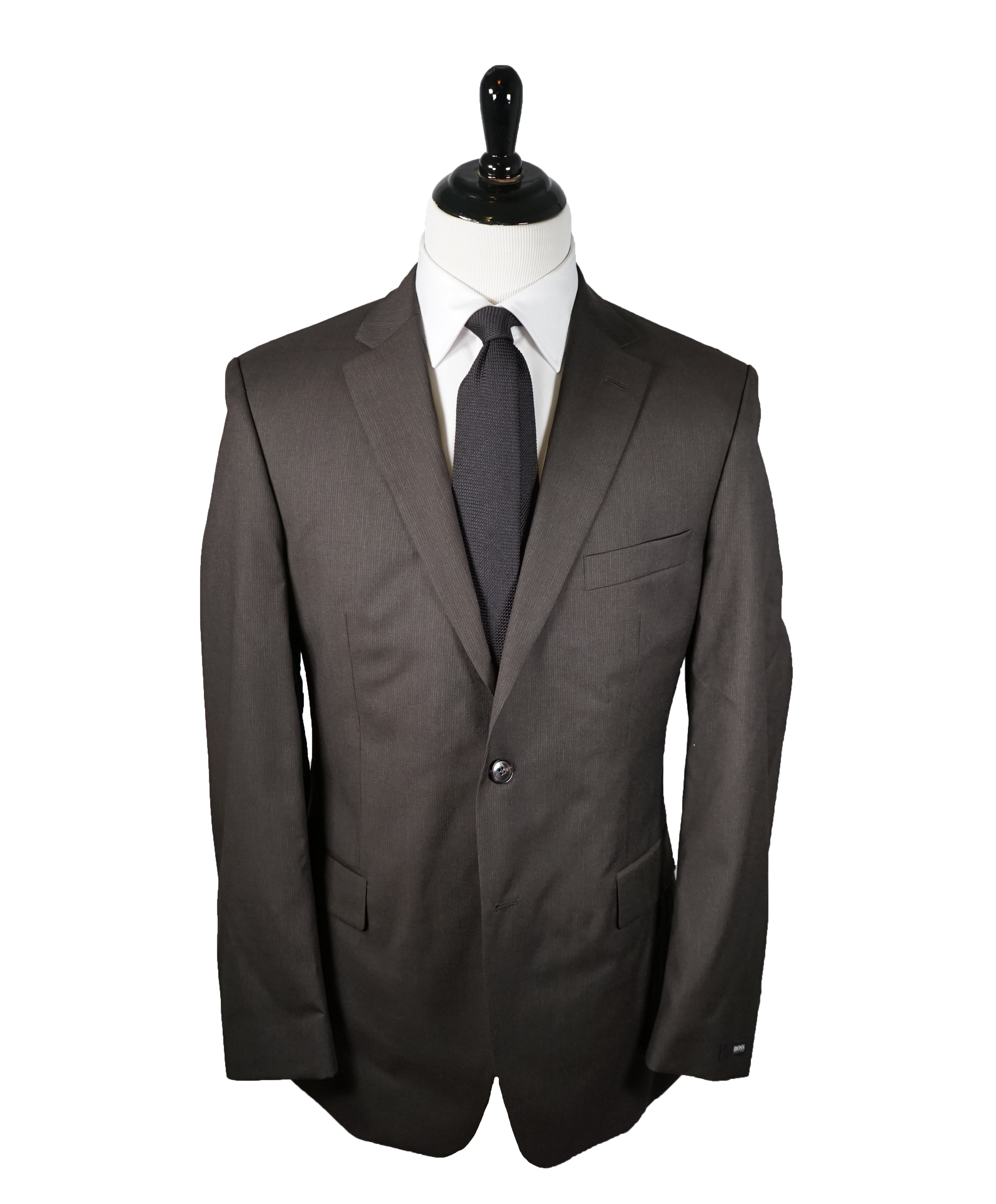 HUGO BOSS - Brown Micro Stripe Suit W Genuine Horn Buttons -  42R