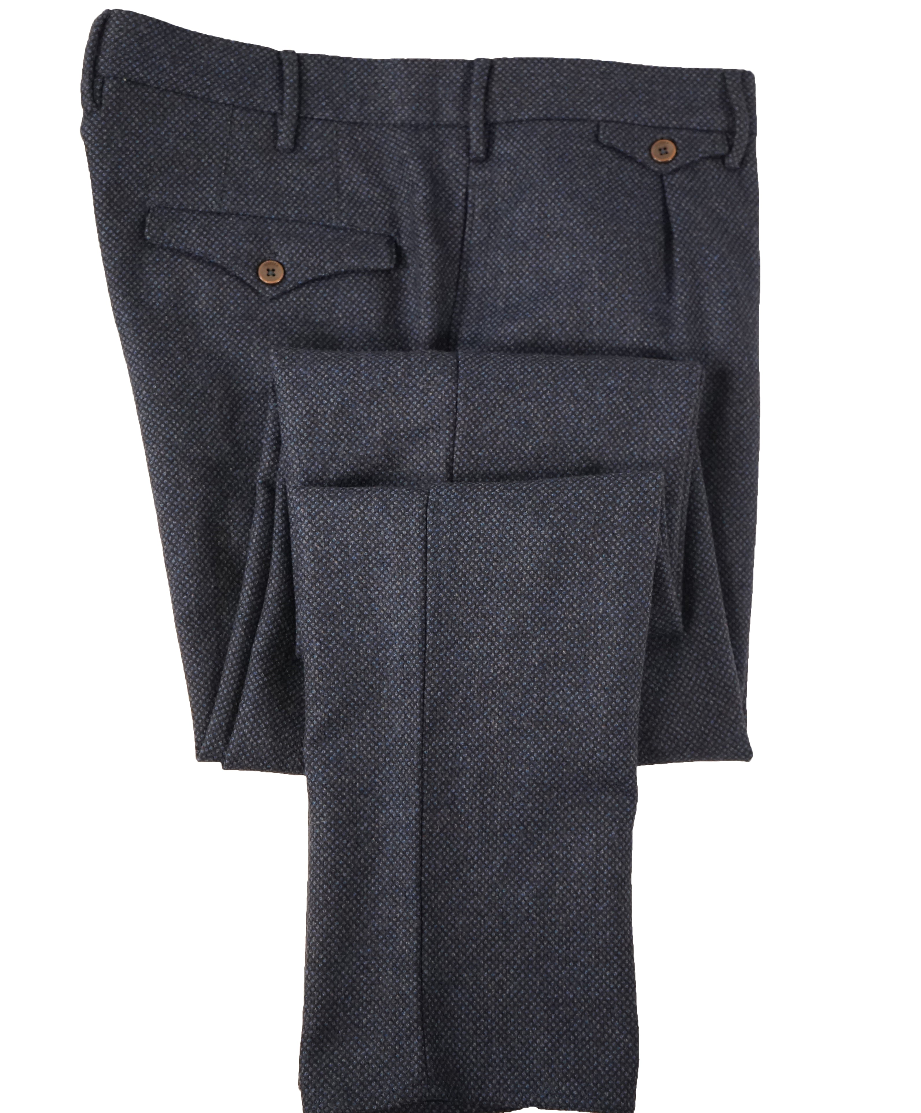 INCOTEX - Pure Wool Blue Textured Slim Fit Pants w Coin Pocket  - 37W