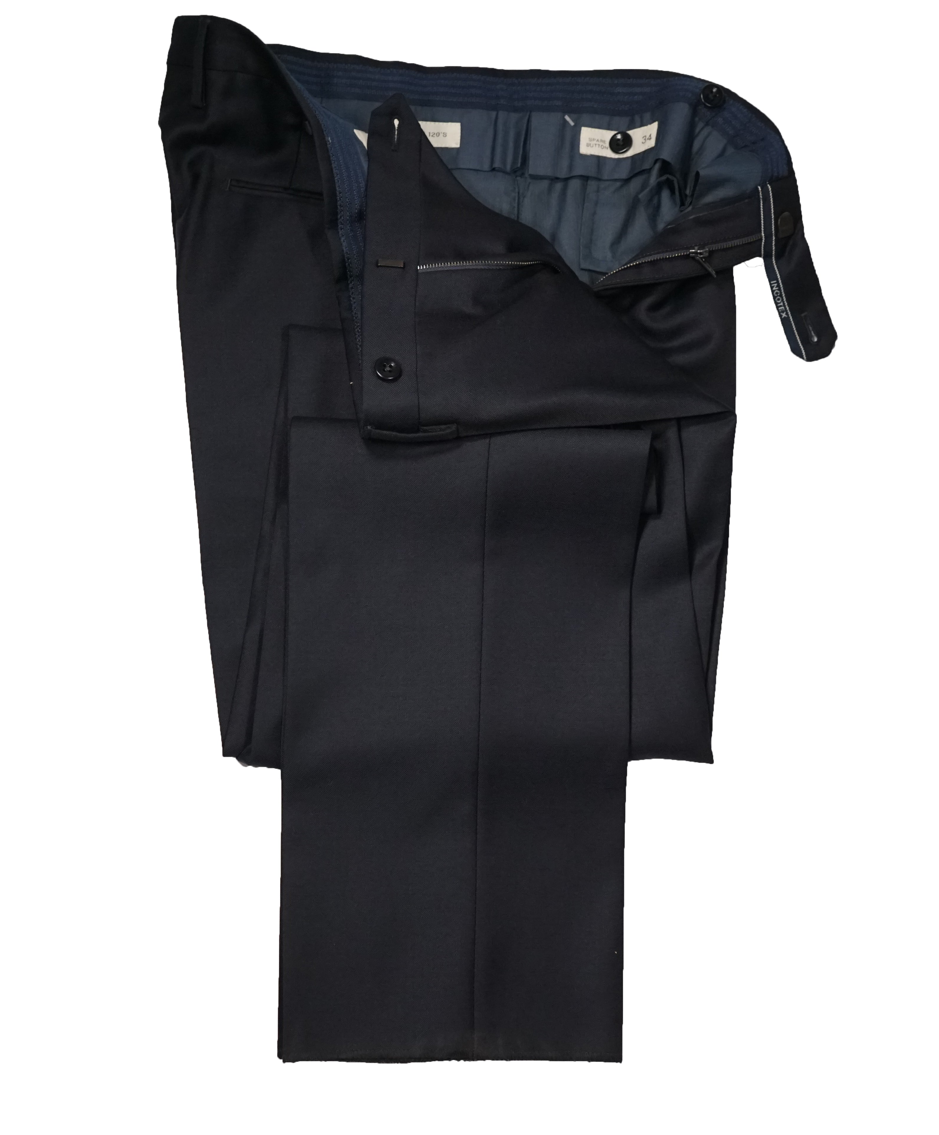 INCOTEX - Navy Blue Slim Fit Dress Pants Super 120's - 34W