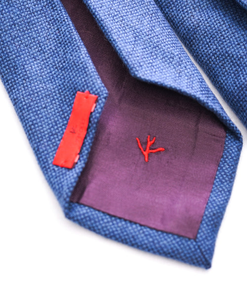 ISAIA  - Cashmere Blend Medium Blue 7-Fold Tie -