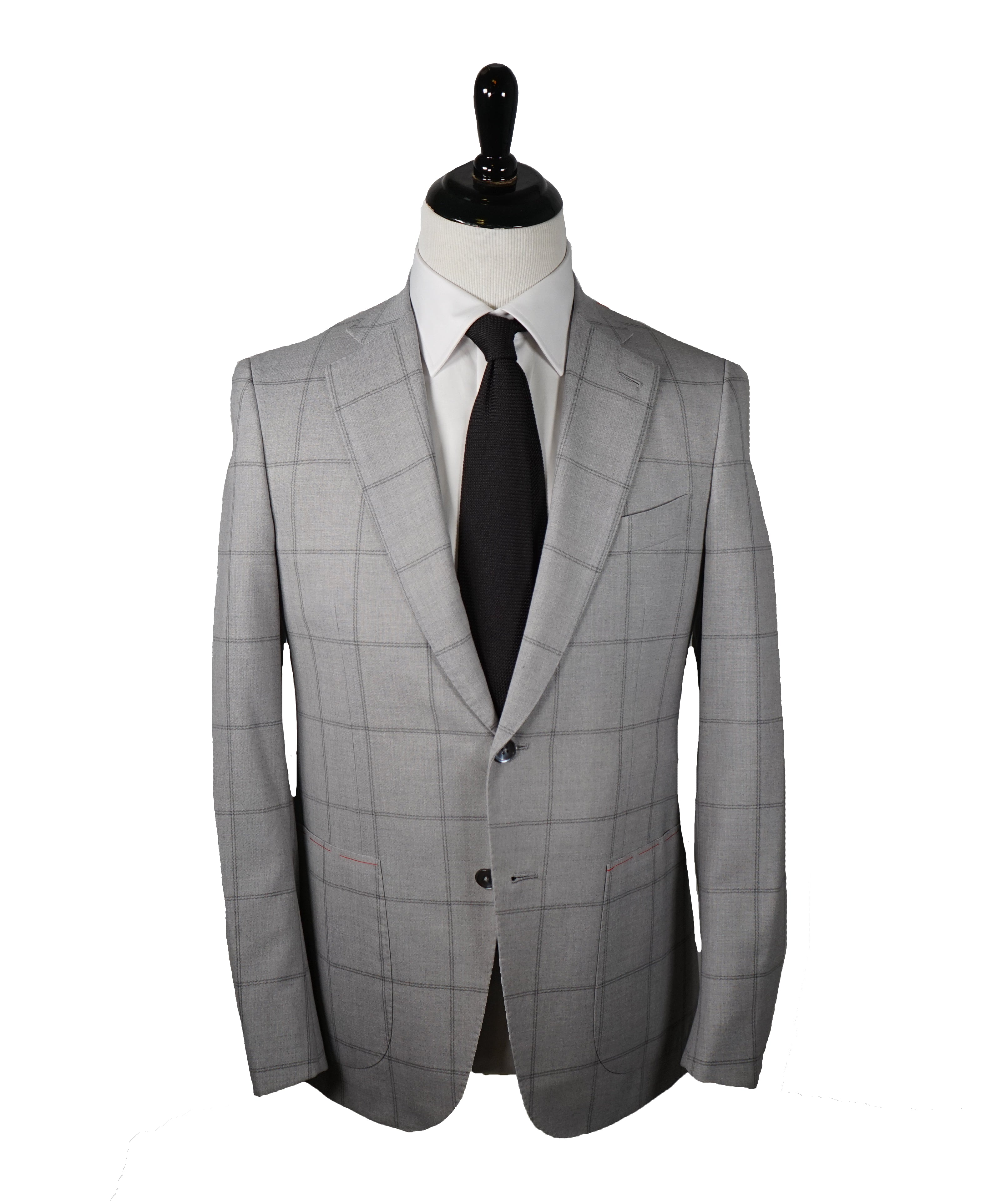 ISAIA - Cashmere /Wool /Mohair Blend Gray Check Suit LOGO COLLAR - 38R