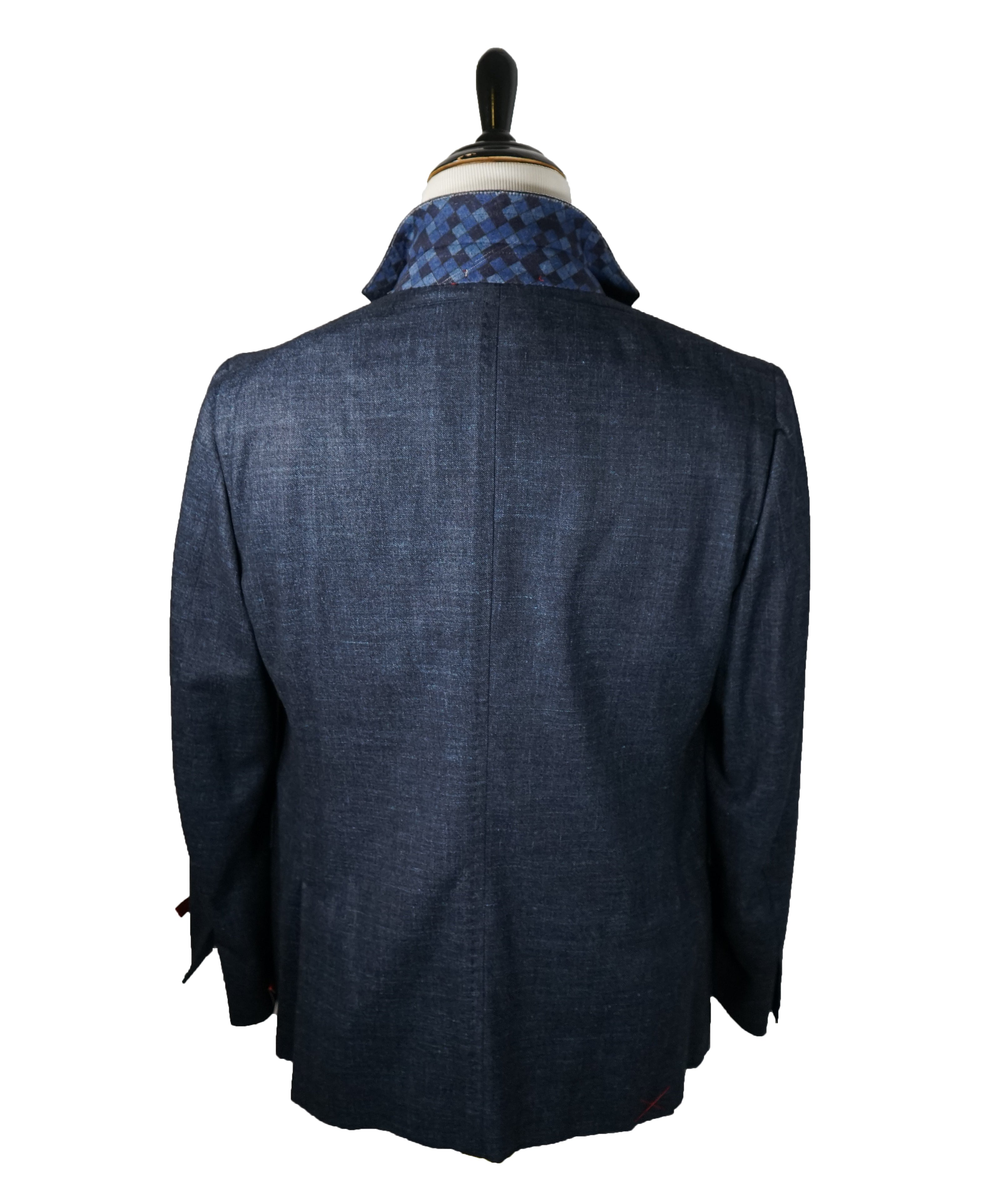 ISAIA - Cashmere Wool blend Melange Medium Blue Suit LOGO COLLAR - 46R