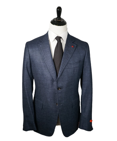 "ELEVENTY -  ""PLATINUM"" Hand Made Double Breasted Blue SILK/LINEN Suit - 44R"