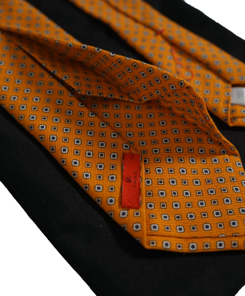 ISAIA  -  Orange  7-Fold Foulard Cotton Tie