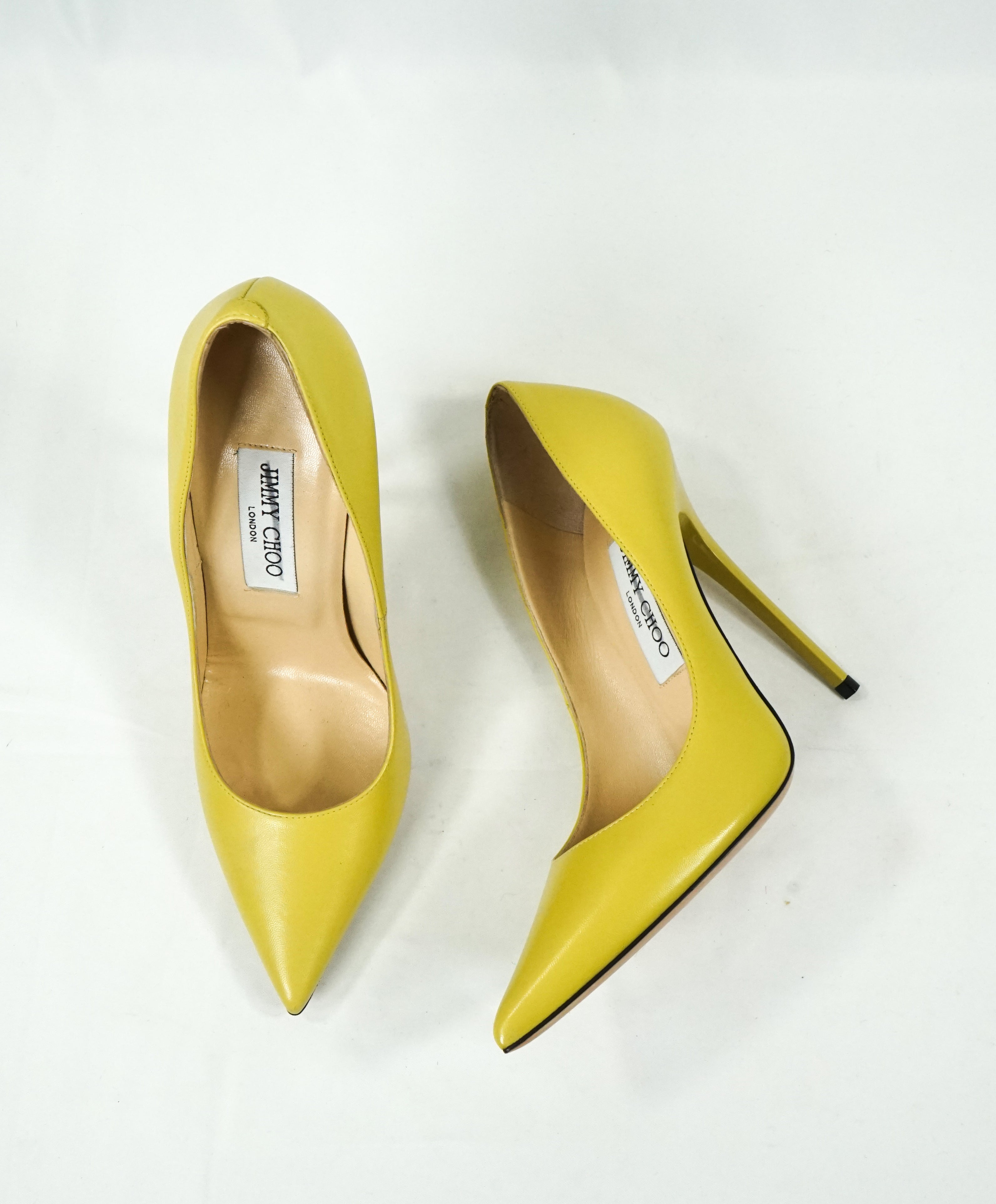 "JIMMY CHOO - ""ANOUK"" Classic Neon Pointed Leather Heels Pumps - 7"