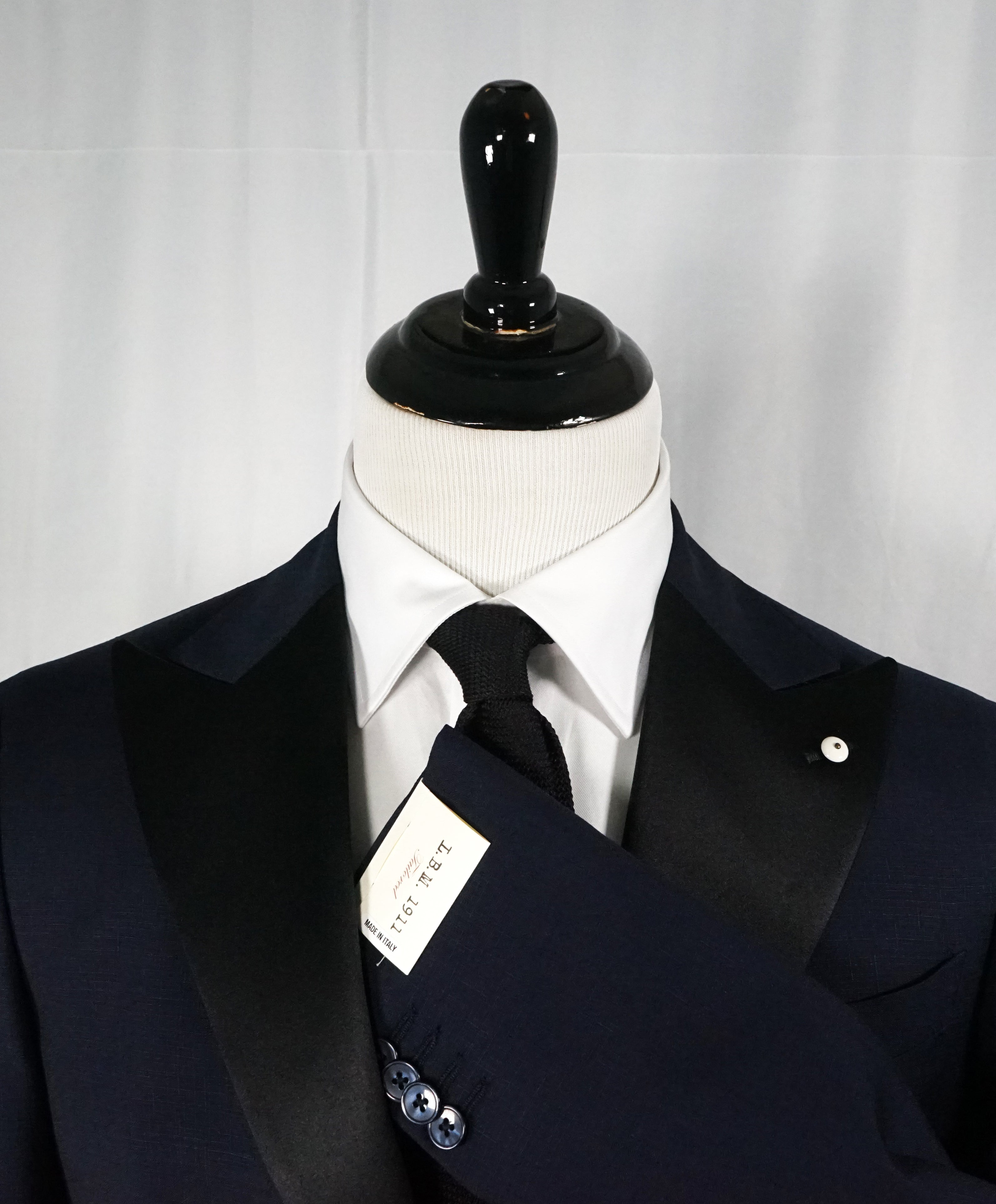 L.B.M. 1911 -LUIGI BIANCHI MANTOVA Blue Wide Peak Lapel Semi Lined Tuxedo- 36R